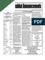 Shabbat Announcements, January 3, 2008