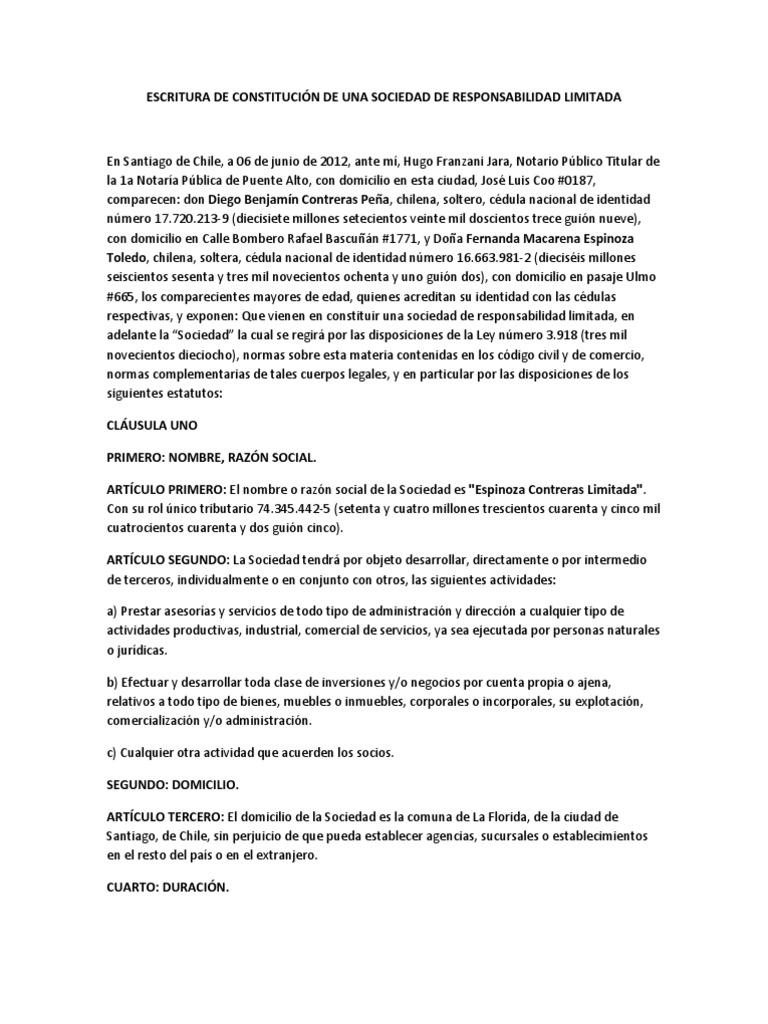 Moderno Plantilla De Escritura De Sociedad Elaboración - Ejemplo De ...