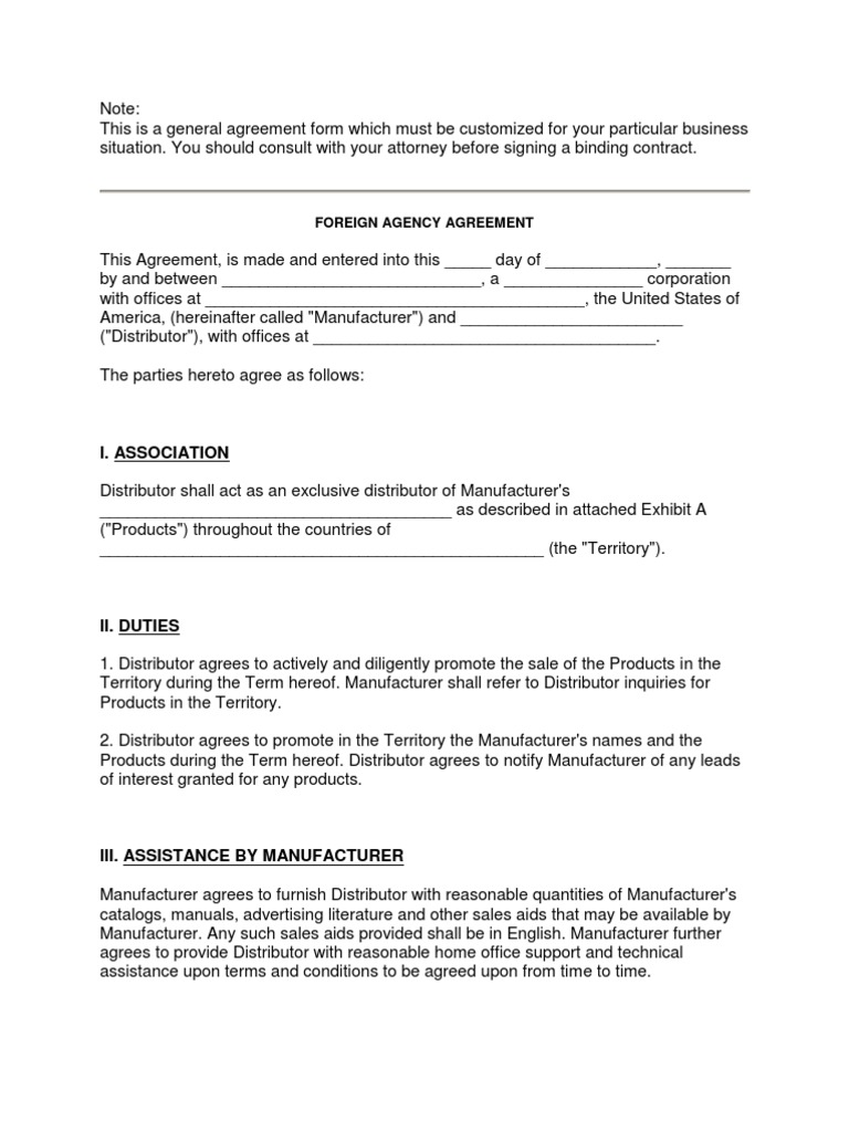 Foreign Agency Agreement Sample Format Only Damages – Business Agency Agreement
