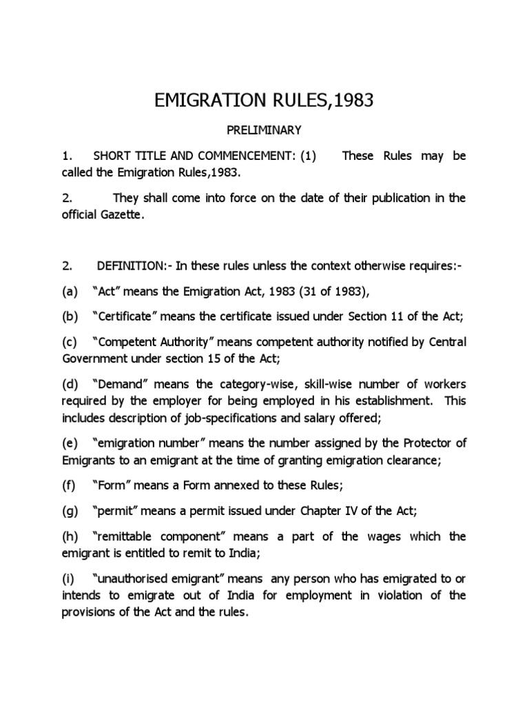 emigration rules,1983 | travel visa | employment