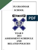 Year 9 2011 Assessment Schedule FINAL