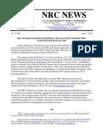 "NRC TO DISCUSS POST-FUKUSHIMA ""REGULATORY FRAMEWORK""JUNE 20 IN ROCKVILLE, MD"