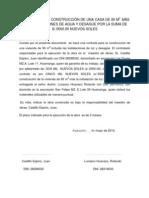 CONTRATA PARA CONSTRUCCIÓN DE PARED  Y BACEADO DE COLUMNAS DE UNA CASA DE 95 M2  POR LA SUMA DE 5