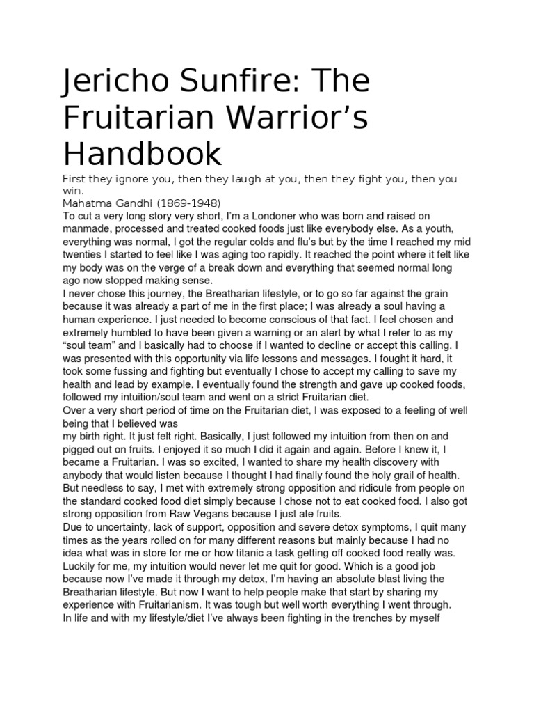 Jericho sunfire the fruitarian warriors handbook raw foodism eating forumfinder Image collections