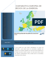 Comparativa europea de precios de la energía(Es)/ European comparative of  energy prices(Spanish)/ Energiaren prezioen konparatiba europearra(Es)