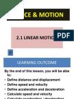 2.1 Linear Motion