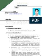 Resume of Amir Tanveer Khan