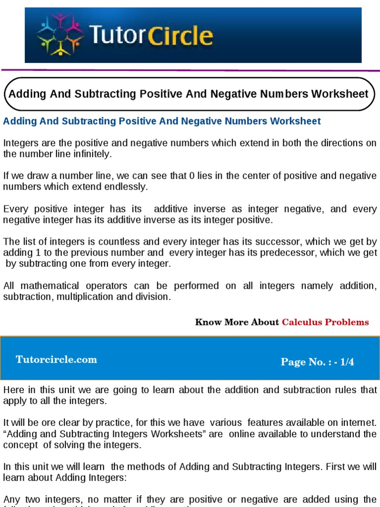 Adding and Subtracting Positive and Negative Numbers Worksheet