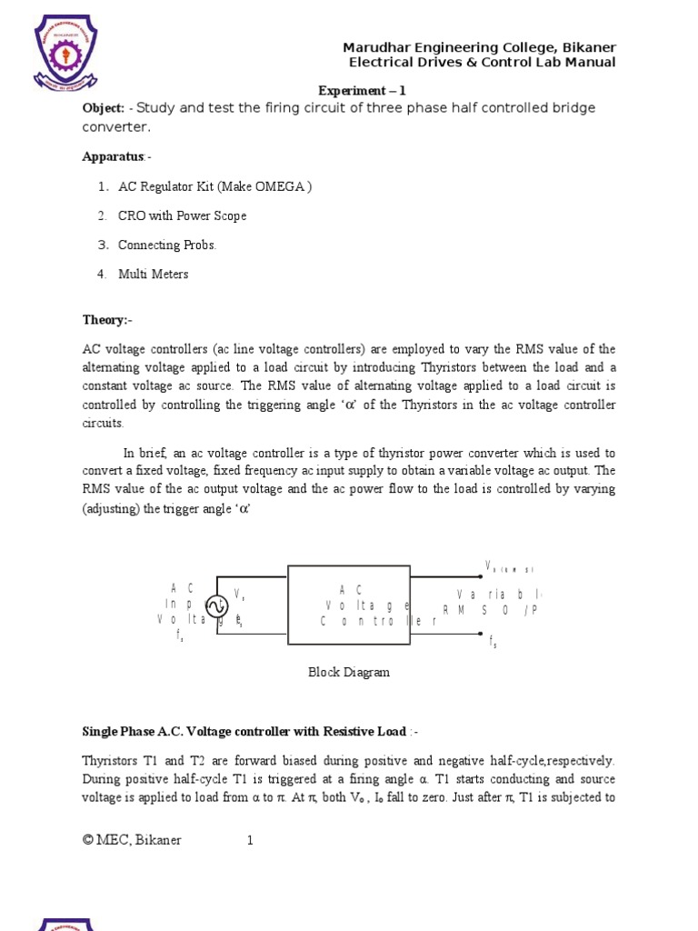 1 Ac Regulater Using Scr In Anti Parallel Alternating Current Constant Voltage Circuit