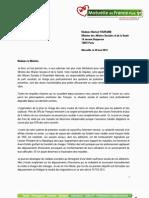 Lettre de Serge Jacquet à Madame La Ministre des Affaires Sociales