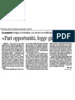Legge sulle pari opportunità - Corriere del Trentino del 2012-06-08