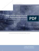 Entrepreneurial Approach to Higher Ed Reform