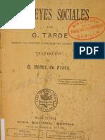 TARDE, Gabriel - Las Leyes Sociales