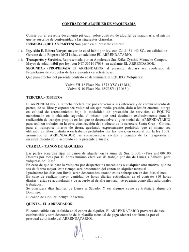 Contrato de alquiler de maquinaria for Modelo de contrato de alquiler