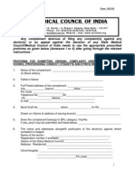 Proforma for Complaint and Appeal Against Doctor in India