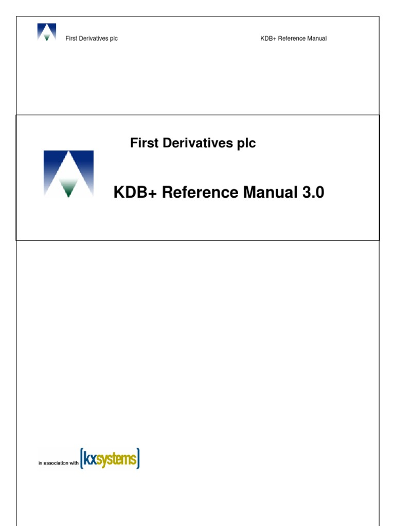 kdb manual databases real time computing