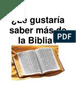 ¿Le gustaría saber más de la Biblia?