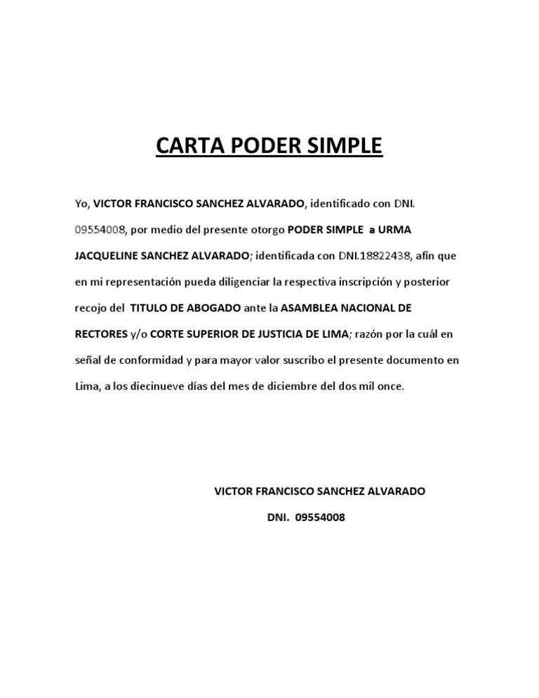 Carta Poder Simple