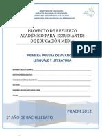 Primera Prueba de Avance de Lenguaje y Literatura - Segundo Año de Bachilllerato - PRAEM 2012