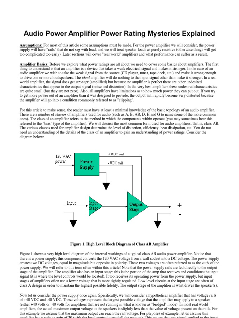 Audio Power Amplifier Rating Mysteries Explained Class Ab Amplifiers Root Mean Square