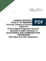 Kannur University ECE S7-S8 Syllabus