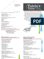 Talula's Table Catering Menu May 2012