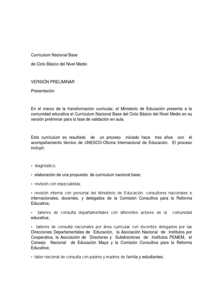 Currículum Nacional Base