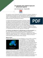 Consideraciones generales sobre calidad de agua para pulverización agrícola (2010)