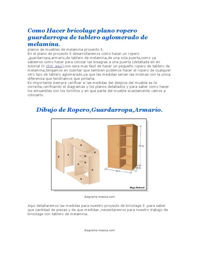 Como hacer bricolage plano ropero guardarropa de tablero for Plano ropero melamina