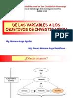C 10 DE LAS VARIABLES A LOS OBJETIVOS DE INVESTIGACIÓN