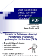 Etica in Psihologie Clinica, Consiliere Psihologica