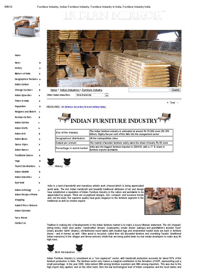 Furniture Industry Indian Furniture Industry Furniture Industry In