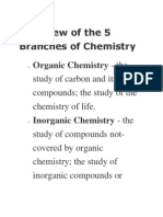 Overview of the 5 Branches of Chemistry