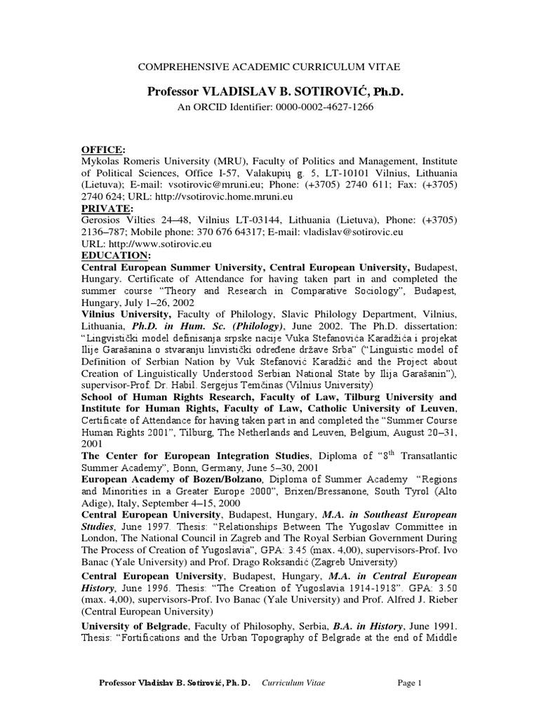 CV Resume Vladislav B Sotirovic Lithuania