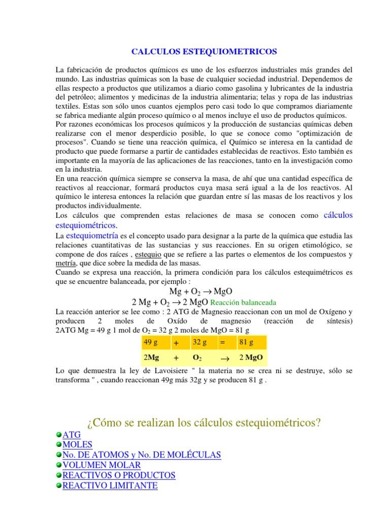 Excelente Hoja De Cálculos Estequiométricos Colección - hojas de ...