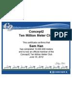 CONCEPT2 2012-06-10 10 Million Meter Certificate