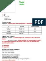 Résumé de Mathématique 1ere rénové -  2012