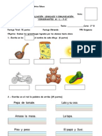 Evaluacion Consonantes m y l - s - p Primero b