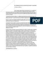 Conceptualizacion Del Termino Estetica Su Ojetivo de Estudio y Su Metodo