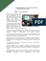 Mef Analiza Con Autoridades Locales Proyectos de Desarrollo en El Vrae