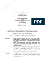 Peraturan Mendikbud Menag PPDB 2012