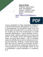 Aanal Shah's Resume- Krupesh's Format