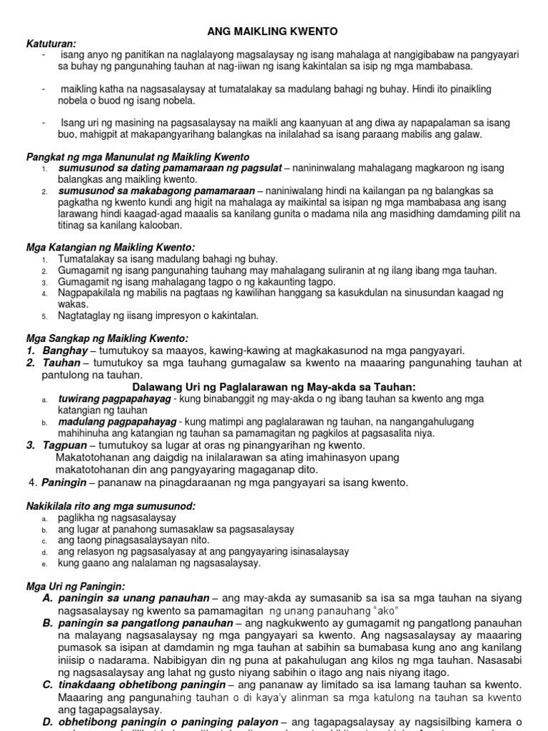 tesis ng maikling kwento katuturan ng mga katawagan
