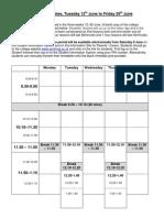 College Timetable June 2012