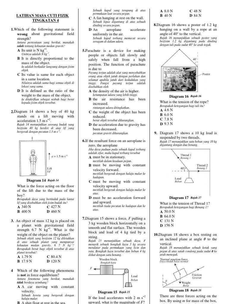 Latihan Masa Cuti Fizik Tingkatan 4