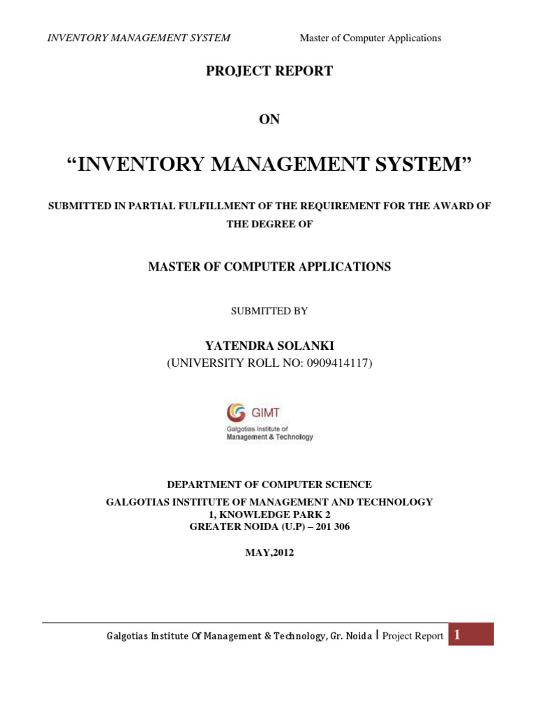 Inventory Management System Project Report | Feasibility