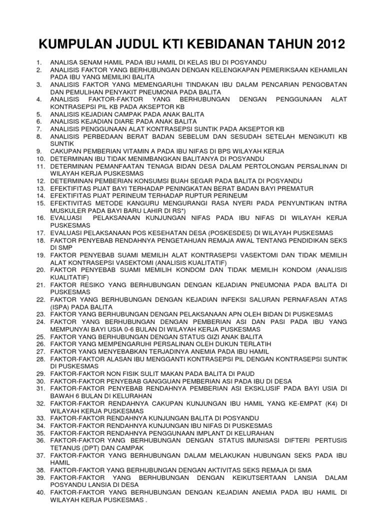 Kumpulan Judul Kti Kebidanan Terlengkap Tahun 2012