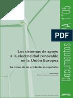 Los sistemas de apoyo a la electricidad renovable en la Unión Europea(Es)/ Support systems to renewable electricity in European Union(Spanish)/ Elektrizitate berriztagarriaren sostengu sistemak Europar Batasunean(Es)
