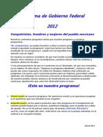Discurso Del Programa Presidencial 2012