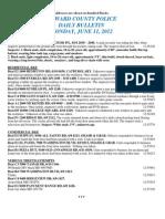 Police Daily Crime Bulletin 20120611